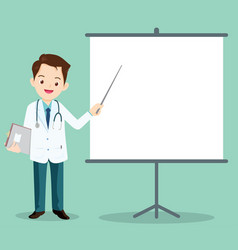 smart doctor presenting with projector vector image