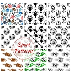 Sport balls and items seamless patterns set vector
