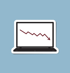 stock crisis with laptop vector image