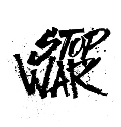 Stop war Cola pen calligraphy font vector