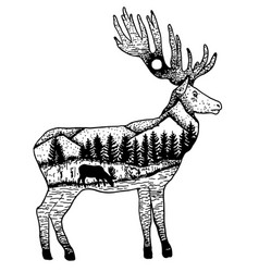 Stylized elk with nature landscape ink hand vector