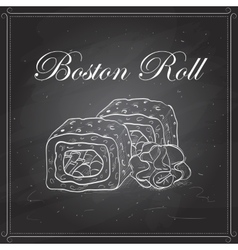 sushi sketch Boston roll vector image