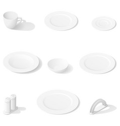 tableware isometric icon set vector image