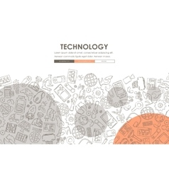 Technology Doodle Website Template Design vector