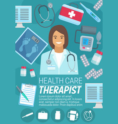 Therapist or psychotherapist health care poster vector