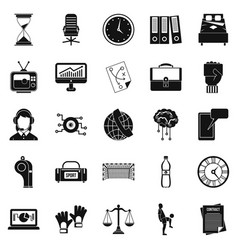 Timer icons set simple style vector