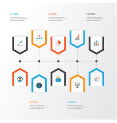 Trade flat icons set collection of hierarchy id vector