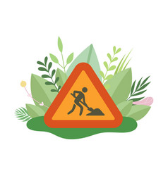 under construction sign with man digging ground in vector image