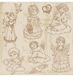 Vintage Angels Dolls Babys vector
