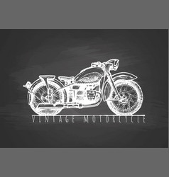 Vintage motorcycle on blackboard vector