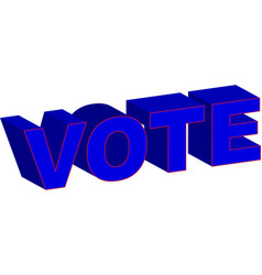 vote 3d blue red typography vector image
