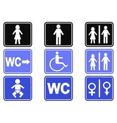 wc button icons set vector image