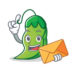 With envelope peas character cartoon style vector