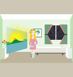woman looks at the sunrise augmented reality vector image