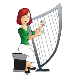 woman playing harp vector image