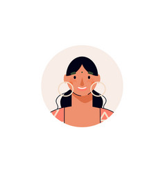 Young smiling woman or girl cartoon character vector