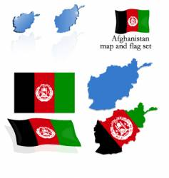 afghanistan map and flag set vector image vector image