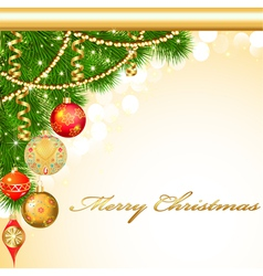 background Christmas with decorative balls vector image vector image