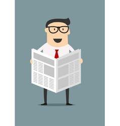 Cartoon businessman reading a newspaper vector image vector image