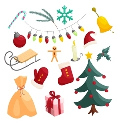 Christmas icons set cartoon style vector image