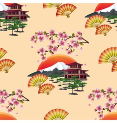 Japanese decorative seamless pattern with sakura vector image vector image