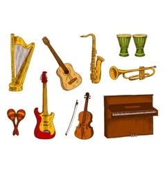 Musical instruments icons for entertainment design vector image vector image