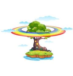 Rainbow and island vector image vector image