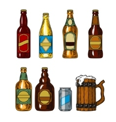 Set icons of beer bottles and mug vector image