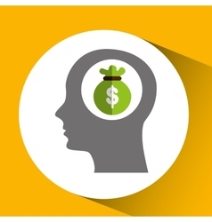 silhouette head with bag money icon vector image
