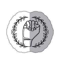 sticker with contour ornament leaves with closed vector image