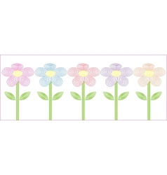 stylized flowers five different colors vector image vector image