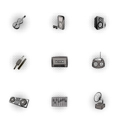 Tools for music icons set pop-art style vector image vector image
