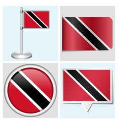 Trinidad and Tobago flag - sticker button label vector image