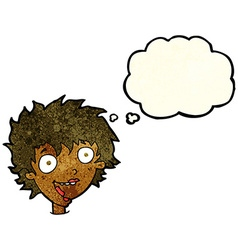 Cartoon crazy excited woman with thought bubble vector