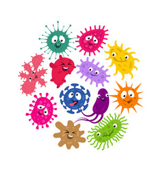 funny germs and virus kids background vector image vector image