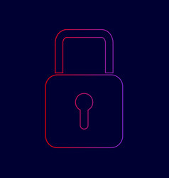 lock sign line icon with vector image