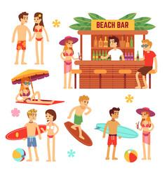sunbathing young people on beach fun couple on vector image vector image