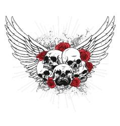 t-shirt design with skulls vector image vector image