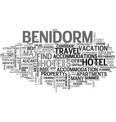 where to stay in benidorm spain text word cloud vector image