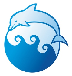 Dolphin jumping symbol vector image vector image