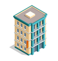 isometric hotel building place isolated icon vector image