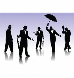 men silhouettes with umbrella vector image vector image