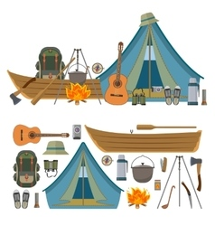 set of camping objects and tools isolated vector image vector image