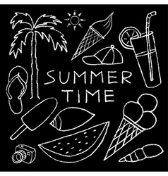 Set of White Summer Sketches Hand Drawn in Pencil vector image vector image