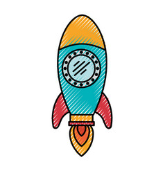colored crayon silhouette of space rocket vector image vector image