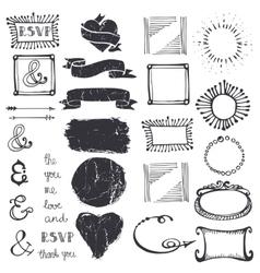Doodle decor element ampersandcatchword set vector image vector image
