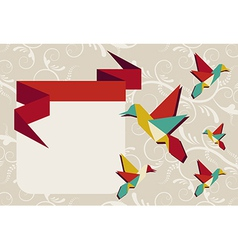 Origami hummingbird group greeting card vector image vector image