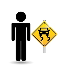 road sign slippery silhouette man vector image
