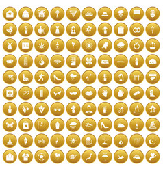 100 flowers icons set gold vector image