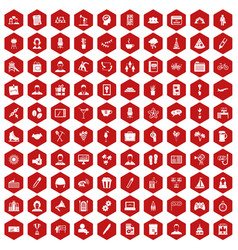 100 team building icons hexagon red vector